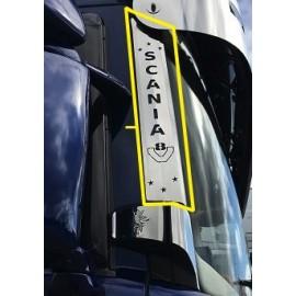 """PLACCHETTE INOX PIANTONE ANTERIORE CON SCRITTA """"SCANIA"""" E V8 SCANIA L"""